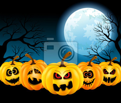 Citrouilles d'Halloween dans la pleine lune