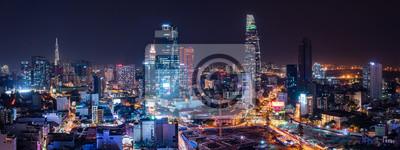 Sticker Cityscape of Ho Chi Minh City, Vietnam at night