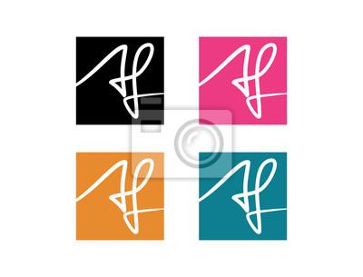 Sticker Classique Monogramme Carré Couleur Initiale Lettre Af Plat Logo