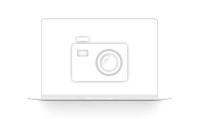 Sticker Clay laptop mockup isolated on white background. Vector illustration