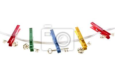 Clés sur une corde à linge