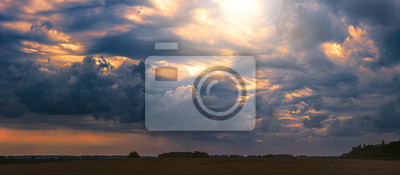 Sticker Climate change concept with asperitas storm clouds, banner