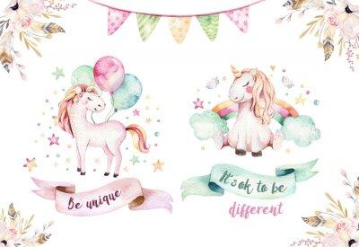 Sticker Clipart de licorne aquarelle mignon isolé. Illustration de licornes pépinière. Affiche de licornes de princesse arc-en-ciel. Cheval de dessin animé rose dernier cri.
