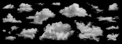 Sticker Clouds set isolated on black background. White cloudiness, mist or smog background. Collection of different clouds.