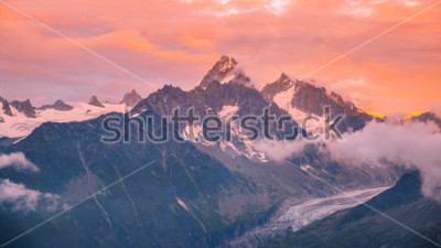 Sticker Cloudy Sunset over Iconic Mont-Blanc Mountains Range and Glaciers