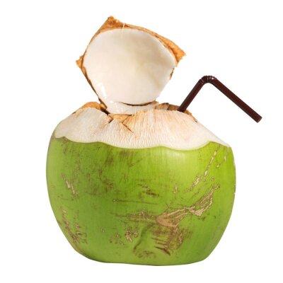 Sticker Coconut boisson aux fruits de l'eau isolé sur blanc