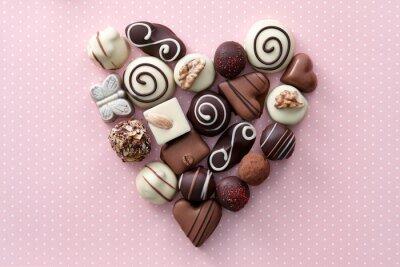 Sticker Coeur, bonbons, chocolat