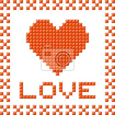 Sticker Coeur Damour Faite De Blocs De Pixels