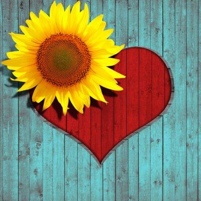 Sticker coeur de fleur de tournesol et turquoise fond de bois