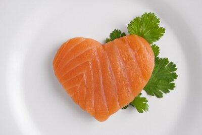 Sticker Coeur en forme de saumon sur plaque blanche