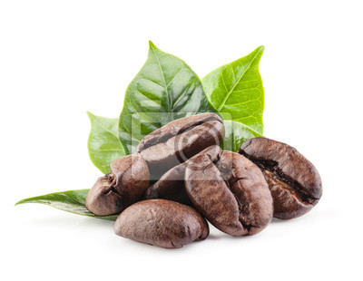Sticker Coffee beans isolated on white background with clipping path