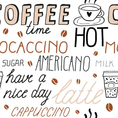 Sticker Coffee seamless pattern with lettering. Vector Sketch Illustration with hand written calligraphy. Text about different types of coffee. Americano, latte, cappuccino. Breakfast drinks theme