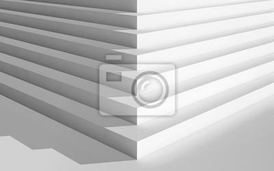 Coin, vide, blanc, escalier, 3, d, Illustration