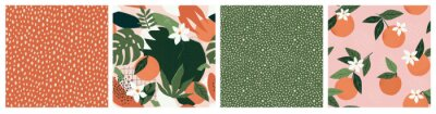 Sticker Collage contemporary orange floral and polka dot shapes seamless pattern set.