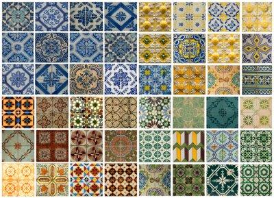Sticker Collage de carreaux de motifs de couleurs différentes au Portugal