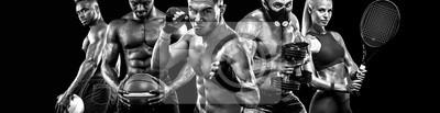 Sticker Collage de joueurs de sports multi isolé sur fond noir. Copiez l'espace. Concept sportif