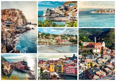 Sticker Collage de la plupart des monuments célèbres en Italie. Ligurie Gênes, Manarola, Vernazza, Bogliasco, Santa Margherita.