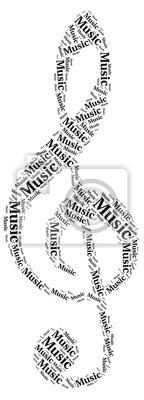 Sticker collage: notes de musique avec des mots