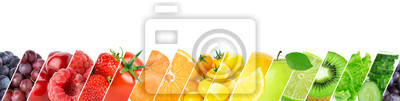 Sticker Collage of color fruits and vegetables. Fresh ripe food