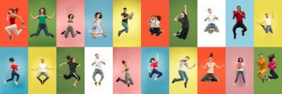 Sticker Collage of portraits of 11 young jumping people on multicolored background in motion and action. Concept of human emotions, facial expression, sales. Smiling, cheerful, happy. Using devices, gadgets.