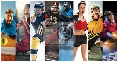 Sticker Collage sportif sur le football, le football américain, le basketball, le tennis, la boxe, le hockey sur glace et le hockey sur gazon, le tennis de table