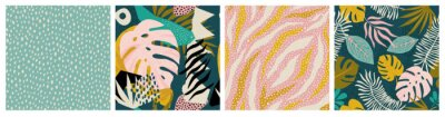 Sticker Collage tropical and polka dot seamless pattern set. Modern exotic design for paper, fabric, interior decor