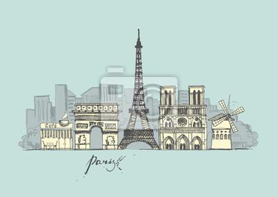 Sticker Collection de croquis de Paris. Paysage urbain abstrait avec des points de repère