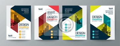 Sticker collection de design moderne affiche dépliant brochure couverture modèle de disposition avec éléments graphiques triangle et espace pour arrière-plan photo