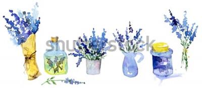 Sticker Collection de fleurs de lavande sur fond blanc. Ensemble de fleurs vintage. Herbes de jardin. Herbes isolées sur blanc. Plante d'herbes. conception de pays de jardinage. fleuriste, décoration végé