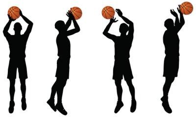 Sticker collection de joueurs de basket de silhouette en position de tir