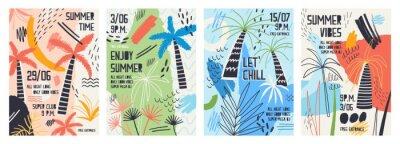 Sticker Collection de modèles d'invitations ou d'affiches décorés avec des palmiers tropicaux, des taches de peinture, des taches et des gribouillis pour une soirée dansante en plein air. Illustration vectori