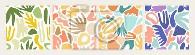 Sticker Collection de modèles sans soudure abstraits modernes avec des formes colorées naturelles ou des taches sur fond blanc. Illustration de vecteur hétéroclite Trendy dans un style plat pour papier d'emba