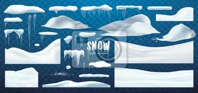 Sticker Collection de vecteur de chapeaux de neige, pile, glaçons, isolés sur fond, transparent, glace, boule de neige et congères. Décorations d'hiver 3D, Noël, texture de la neige, éléments blancs, concepti