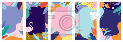 Sticker Collection of abstract background designs - summer sale, social media promotional content. Vector illustration