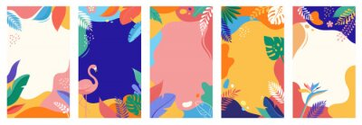 Sticker Collection of abstract background designs, summer sale, social media promotional content. Vector illustration