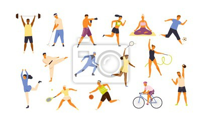 Sticker Collection of cute funny men and women performing various sports activities. Bundle of happy training or exercising people isolated on white background. Vector illustration in flat cartoon style.