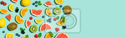 Sticker Collection of mixed fruits overhead view flat lay
