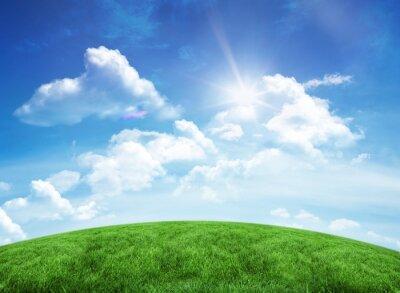Sticker Colline verte sous le ciel bleu