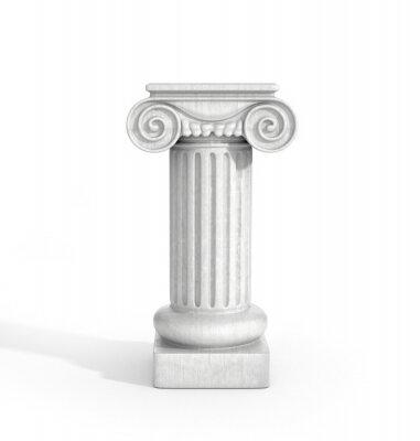 Sticker Colonne de colonne dorique haute isolé sur fond blanc. Piédestal.