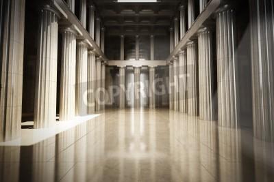 Sticker Colonne salle vide intérieur, la loi ou de fond du gouvernement concept, modèle 3d scène