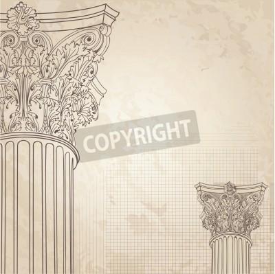 Sticker Colonnes classiques de fond sans soudure. Colonne corinthienne romaine. Illustration onold fond de papier pour esquisse