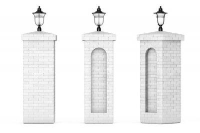 Sticker Colonnes de brique avec lampadaires. Rendu 3d