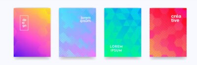Sticker Color gradient background, geometric halftone pattern, vector abstract trendy line graphic design. Simple minimal elements in halftone color gradient, modern pattern backgrounds