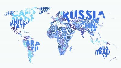 Sticker Color political map of the world consisting of country names, text composition detailed vector illustration