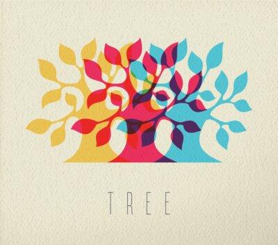 Sticker Coloré, arbre, silhouette, concept, fond