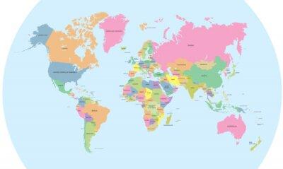 Sticker Coloré carte politique du vecteur monde