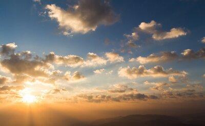 Sticker Coloré, dramatique, ciel, nuage, Coucher soleil