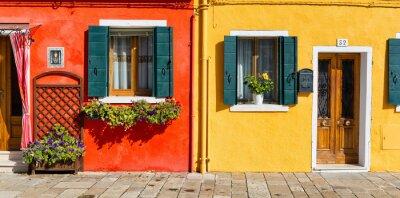 Sticker Coloré, maison, façade, Burano, Italie