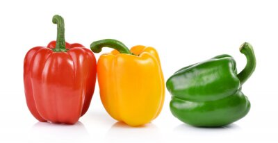 Sticker colored peppers over white background