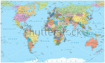 Sticker Colored World Map - borders, countries, roads and cities. Detailed World Map vector illustration.
